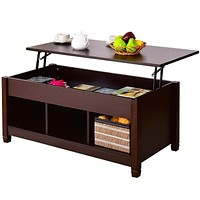 Brown Wood Lift Top Coffee Table with Hidden Storage Space