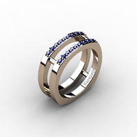 Mens Modern 14K Rose Gold Blue Sapphire Cluster Wedding Ring G10042-14KRGBS