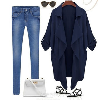 Women's Double Breasted Loose Long Trench Cardigan Coat Jacket Outerwear  7_S SV006191