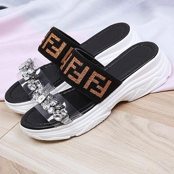FENDI Summer Fashion Women Casual Crystal Thick Sole Sandals Slippers Shoes Black