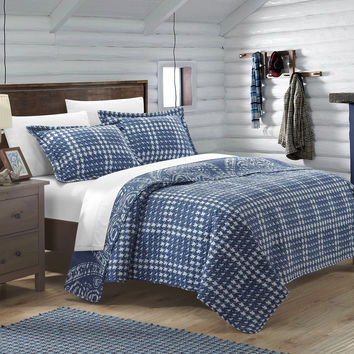 Chic Home 7 Piece Revenna REVERSIBLE printed Quilt Set. Front a traditional pattern and Reverses into a houndstooth pattern, Queen, Navy