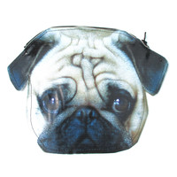 Pug Puppy Dog Head Shaped Vinyl Animal Photo Print Clutch Bag | DOTOLY