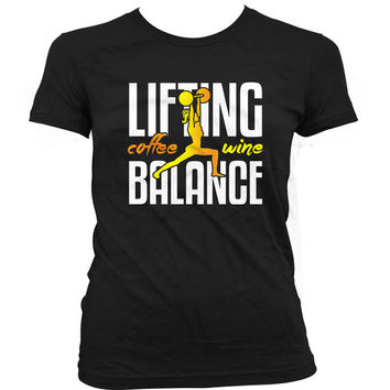 Funny Lifting Shirt Lifting Coffee Wine Balance Lifting Tops Weight Lifting Gifts Training Clothing Lifting T Shirt Gym Ladies Tee WT-118