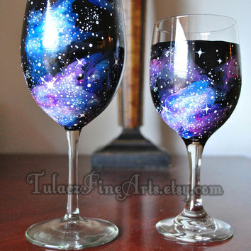 Hand Painted Cosmos Wine Glasses; Galaxy, Space, universe, nebula