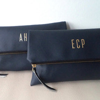 Personalized clutch / Bridesmaid Gifts / Navy blue monogram clutch purse / Evening clutch bag