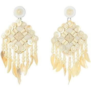 Tory Burch Beaded Shell Statement Earrings