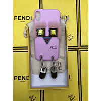 FENDI 2018 soft shell 7p tide brand iPhoneX robot leather protective cover F-OF-SJK pink