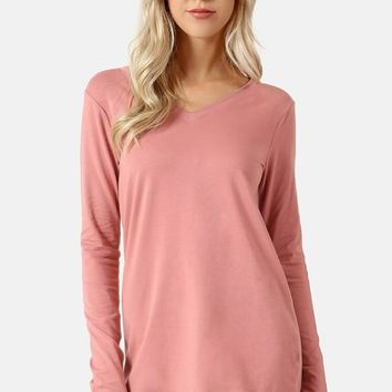 Dusty Rose V-Neck Long Sleeve Tee