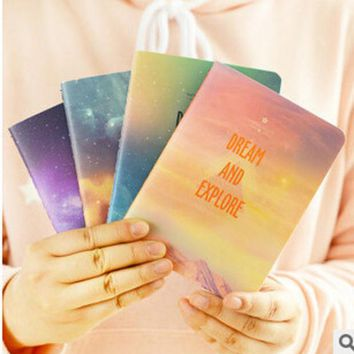 DCCKL72 Fantastic Galaxy Star Sky A6 Notebook Diary Book Exercise Composition Notepad Escolar Papelaria Gift Stationery