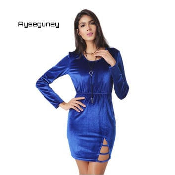 Ayseguney 2017 New Spring Women Elegant Velvet Dress Sexy Hollow out Long Sleeve O-Neck Evening Party Bodycon Dresses