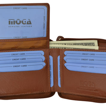 Moga Italian Design Mens Handmade Italian Design Leather Zip Around Bifold Wallet 91256