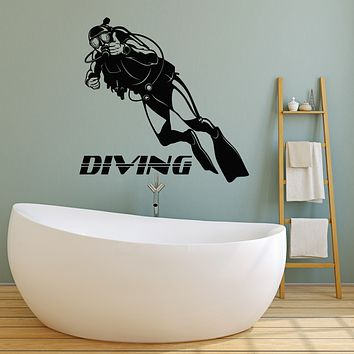 Vinyl Wall Decal Diving Club Diver Extreme Swimming Water Stickers Mural (g2523)