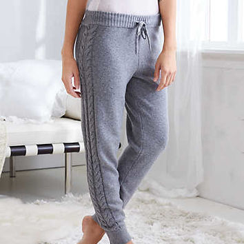 Aerie Cable Sweater Jogger, Dark Heather