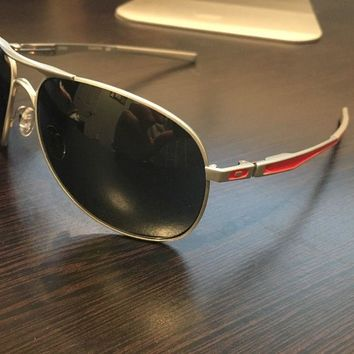 Brand New Oakley Plaintiff Polished Silver/Red Dark Grey Aviator Sunglasses