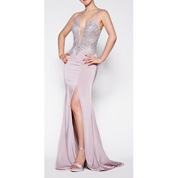 Floor Length Fitted Satin Crepe Gown Mauve/Silver Deep Plunge Neckline
