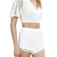 Tie Back Crochet Cropped V-neck Top from EXPRESS