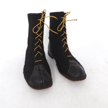 Mens Size 10.5 WWII 1940S Black Wool Felt Biltrite Boots Punk Grunge Hipster Steampunk Leather Lace Up Winter Boots Boho Fall Military Boots