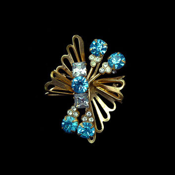 Vintage 1930s The Celestial SUPER NOVA Pyroclastic Sky Blue Crystal Rhinestone Gold Plate Brooch Pin