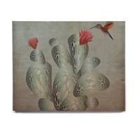 "Angelo Cerantola ""Hummingbird And Cactus"" Green Red Animals Floral Illustration Painting Birchwood Wall Art"