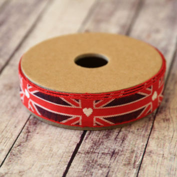 primitive UNION JACK red white and blue fabric woven cotton blend ribbon