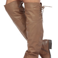 Taupe Faux Leather Knee High Horse Back Riding Boots