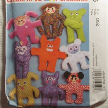 SALE Uncut McCall's Sewing Pattern, 5826! Wacky Creatures/Stuffed Monsters/Aliens/Create an Animal/Stuffed Dolls/Pillows/Creature Dolls/Arts