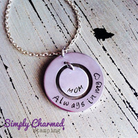Always In My Heart-Mom-Hand Stamped Keychain/Necklace