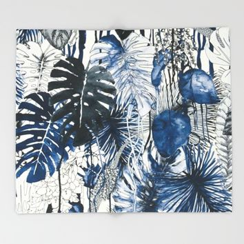 Tropical Plants Throw Blanket by Salome