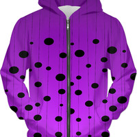 Asymetric dots and lines pattern unisex fit hoodie, stylish purple color clothing