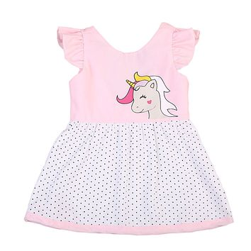 Baby Girls Unicorn Dress Casual Toddler Kids Summer Hoilday Dresses Clothes New