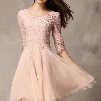 Pink Coctel Half Sleeve Lace Bead Chiffon Babydoll Dress
