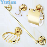 ,solid brass Gold Bathroom Accessories Set,Robe hook,Paper Holder,Towel Bar,soap basket,bathroom sets,YT-12200-B