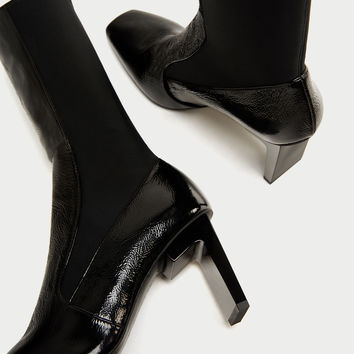 SQUARE TOED HIGH HEEL LEATHER ANKLE BOOTS DETAILS