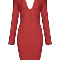 Honey Couture KAI Red Long Sleeve Plunge Neck Mini Dress