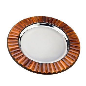 Godinger Accent Tray and Charger Plate - Brown/Silver