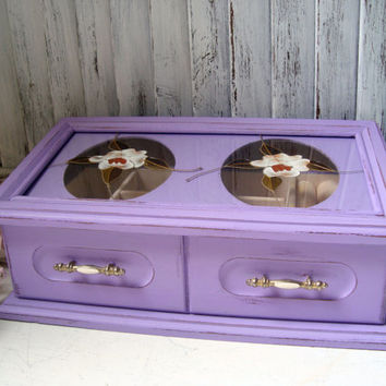 Purple Vintage Jewelry Box, Lavender Wooden Jewelry Holder with Floral Glass Etching, Shabby Chic. Cottage Chic, Gift Ideas