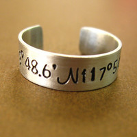 Personalized Latitude and Longitude Ring in Sterling Silver - Adjustable ring