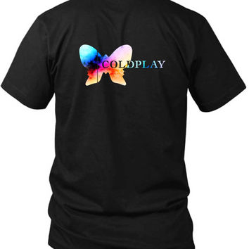 Coldplay Logo Colorize 2 Sided Black Mens T Shirt