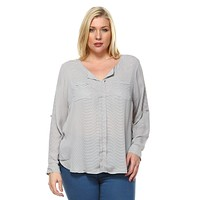 Women's Plus Size Stripe Chiffon Blouse