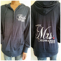 Soon To Be Mrs, The New Mrs, Future Mrs Zip Up Hoodie Customized with Name and Wedding Date Perfect For any Future Bride or New Wife