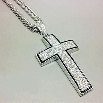 DCCKNY1Q Boys & Men Fashion Hip Hop Versace Cross Necklace