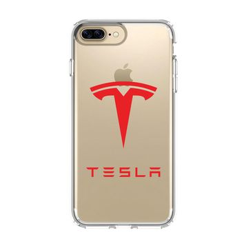 LOGO TESLA MOTOR LOGO iPhone 4/4S 5/5S/SE 5C 6/6S 7 8 Plus X Clear Case