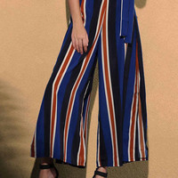 Striped High Slit Pants