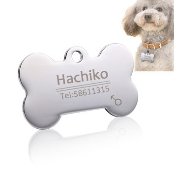 Stainless steel Pet cat dog collar accessories dog cat ID tag customized tag name telephone Free engraving Multiple languages AA