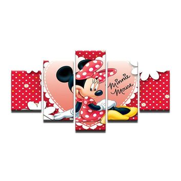 5 Pieces Panel Wall Art Canvas Print Canvas Prints Cartoon Minnie Mouse Kids