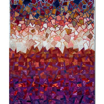 Red Storm, machine appliqued, quilted colorful wall art