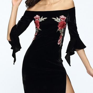 Streetstyle  Casual Off Shoulder Bell Sleeve Embroidery Floral Velvet Bodycon Dress