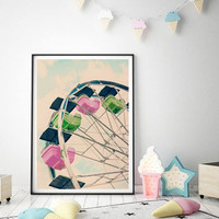 Nursery Decor, Nursery Wall Art, Nursery Prints, Playroom Decor, Modern Nursery, Ferris Wheel Print, Kids Playroom Wall Decor