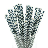 Race Car Checkered Paper Straws, 7-3/4-inch, 25-pack, Navy Blue