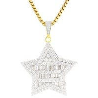 Men's Customized Iced Out Baguette Star Pendant Chain